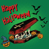 Happy Halloween holiday, coffin skeleton evil pumpkin Stock Photography