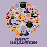 Happy Halloween holiday greeting card. Black and white icons of related objects. Royalty Free Stock Photo