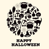 Happy Halloween holiday greeting card. Black and white icons of related objects. Royalty Free Stock Images