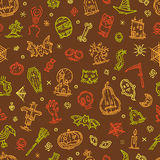 Happy halloween holiday hand drawn elements pattern Royalty Free Stock Photography