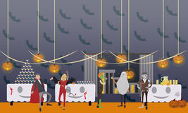 Happy halloween holiday party interior concept banner. Vector illustration in flat style design Royalty Free Stock Photos