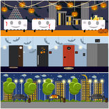 Happy halloween holiday party interior concept posters. Vector illustration in flat style design Stock Photography