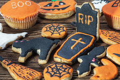 Happy Halloween homemade cookies Royalty Free Stock Photos