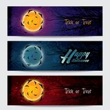 Happy Halloween horizontal banners set Royalty Free Stock Images