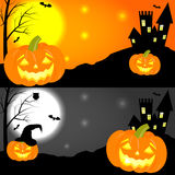 Happy halloween horizontal banners. Set of halloween horizontal banners with pumpkins, castle, moon and bats. Cartoon vector illustration. Concept for royalty free illustration