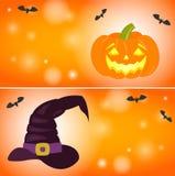 Happy halloween horizontal banners. Set of halloween horizontal banners with pumpkins, hat and bats. Cartoon vector illustration. Concept for congratulation stock illustration