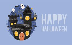 Happy Halloween horizontal holiday banner with gloomy haunted castle, funny ghosts and bats flying against dark starry. Night sky on background. Creepy cartoon Royalty Free Stock Photo