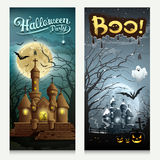 Happy Halloween houses collections banner vertical Royalty Free Stock Images
