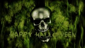 Happy Halloween. Human Skull With Smoke And Fire 3D Rendering. Happy Halloween. Human Skull With Smoke And Fire 3D Render Royalty Free Stock Image