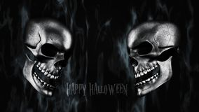 Happy Halloween. Human Skull With Smoke And Fire 3D Rendering. Happy Halloween. Human Skull With Smoke And Fire 3D Render Royalty Free Stock Photography