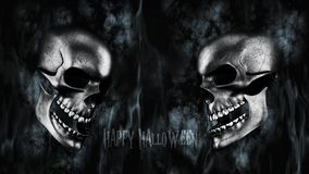 Happy Halloween. Human Skull With Smoke And Fire 3D Rendering. Happy Halloween. Human Skull With Smoke And Fire 3D Render Stock Image