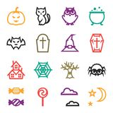 Happy halloween icon set in flat design style Stock Photography