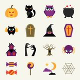 Happy halloween icon set in flat design style Royalty Free Stock Images