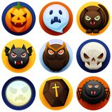 Happy Halloween icon set. Celebration party collection of angry stylized characters Stock Illustration