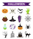 Happy Halloween icons set, flat style. Isolated on white background. Halloween collection of design elements with. Pumpkin, witch hat, spider, zombie, skull Royalty Free Stock Photography