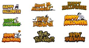 Happy Halloween. A ig set of Happy Halloween greetings, great for signs,bags, posters and more vector illustration