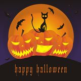 Happy Halloween. Illustration with bats and cat Royalty Free Stock Photo