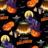 Happy Halloween Illustration with characters on the black background. Seamless pattern. Images for your design projects Royalty Free Stock Images