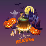 Happy Halloween Illustration with characters on the dark background. Сolorful illusrtation with elements and objects for your design projects Stock Photography
