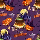 Happy Halloween Illustration with characters on the dark background. Seamless pattern. Images for your design projects Royalty Free Stock Photos