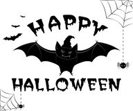 HAPPY HALLOWEEN ILLUSTRATION. Halloween greeting in  on white background with evil bat and spiders. See more in my portfolio Stock Photos