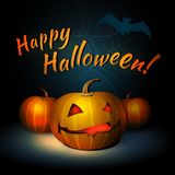 Happy Halloween Illustration With Pumpkin And Bat stock illustration