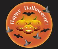 Happy Halloween. Illustration of Happy Halloween with a pumpkins and bats Royalty Free Stock Photos