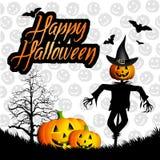 Happy Halloween. Illustration of scarecrow with pumpkin for Happy Halloween Stock Photo