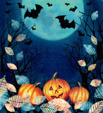Happy Halloween illustration. Spooky background with dark valley Royalty Free Stock Photos