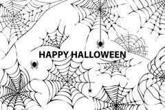 Happy Halloween Cobweb Spiders Vector Illustration. Happy halloween, image representing a lot of cobwebs and spiders in it, as well as the title, placed in Royalty Free Stock Photography