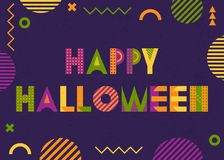 HAPPY HALLOWEEN. Inscription and abstract geometric figures on violet background. Memphis style. HAPPY HALLOWEEN. Trendy geometric font in memphis style of 80s stock illustration