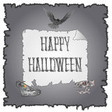 Happy Halloween inscription of bones and skulls and owl vector Royalty Free Stock Photo