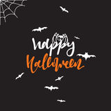 Happy halloween inscription Hand Lettering for design holiday cards Stock Photo