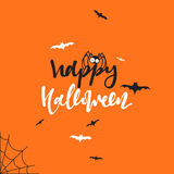 Happy halloween inscription Hand Lettering for design holiday cards Stock Image