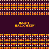 Happy Halloween inscription with horizontal seamless border made of small candy corns. Holiday trick or treat concept Stock Image