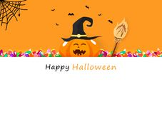 Happy Halloween invitation card, candy, broom, cute pumpkin smiling paper art, celebration holiday season, party festival cartoon royalty free illustration