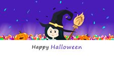 Happy Halloween invitation card, candy, broom, light shine with cute girl witch and pumpkin, celebration holiday season, party stock illustration