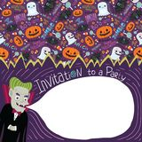 Happy Halloween invitation with Dracula. Royalty Free Stock Photos