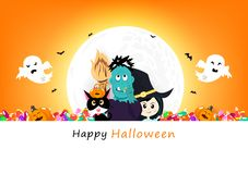 Happy Halloween invitation poster, pumpkin, black cat, candy, zombie monster, witch and spooky cute characters with full moon, vector illustration