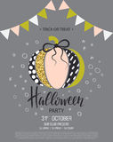 Happy Halloween. Invitation to party with cute glamorous sparkling pumpkin. Vector illustration. Design for greeting Stock Photos