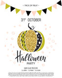 Happy Halloween. Invitation to party with cute glamorous sparkling pumpkin. Vector illustration. Design for greeting Stock Images