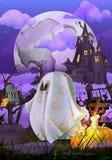 Happy Halloween invitation. Happy Halloween, vector invitation with spooky ghost Stock Photography