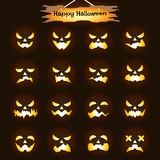 Happy Halloween - Jack O'Lantern Expressions. Vector Easy-To-Use 16 Flat Emoticons Of Jack O' Lantern Facial Expressions As Glowing Candle/Flame  Inside Pumpkin Stock Photography
