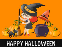 Happy Halloween with kid in witch costume Royalty Free Stock Images