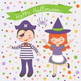 Happy Halloween kids couple Stock Photography