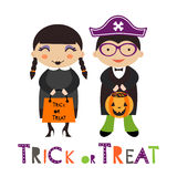 A happy Halloween kids couple Royalty Free Stock Photos