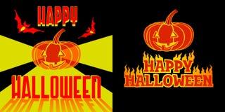 Happy Halloween. Halloween Label With Pumpkin, Bats, Fire And Lights Stock Photos