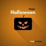 Happy Halloween Label with Pumpkins Stock Images