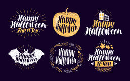 Happy Halloween, label set. Holiday symbol or logo. Lettering, calligraphy vector illustration Royalty Free Stock Photo