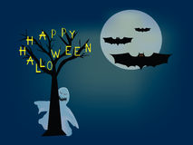 Happy halloween. Landscape with ghost behind a tree and bats Royalty Free Stock Photography